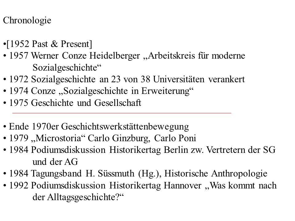"""Chronologie [1952 Past & Present] 1957 Werner Conze Heidelberger """"Arbeitskreis für moderne Sozialgeschichte"""